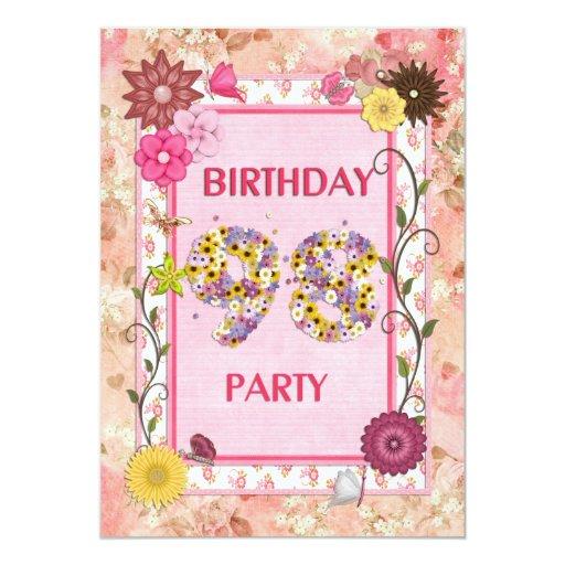 98.a invitación de la fiesta de cumpleaños con el