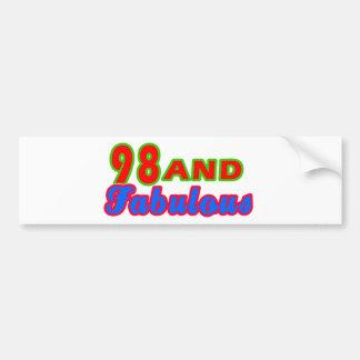 98 and Fabulous Birthday Designs Bumper Sticker