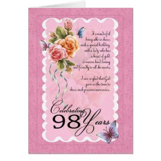 98 años de la tarjeta de felicitación - rosas y ma