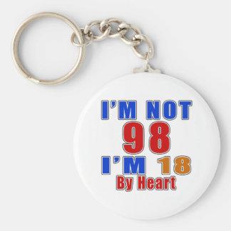 98 Birthday Designs Basic Round Button Keychain