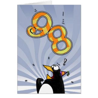 98.o cumpleaños - tarjeta de la sorpresa del pingü