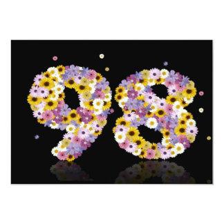 98.o Fiesta de cumpleaños, con las letras Invitación 12,7 X 17,8 Cm