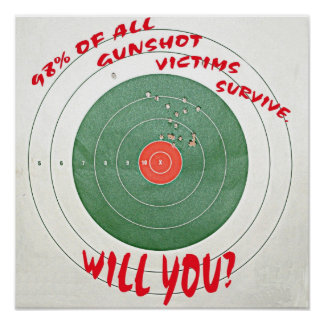 98% of all gunshot victims survive.  Will you? Poster