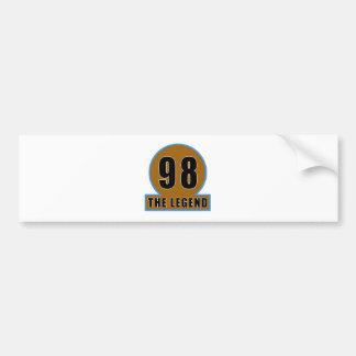 98 The Legend Birthday Designs Bumper Stickers
