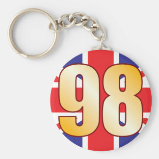 98 UK Gold Basic Round Button Keychain
