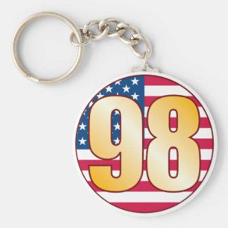 98 USA Gold Basic Round Button Keychain