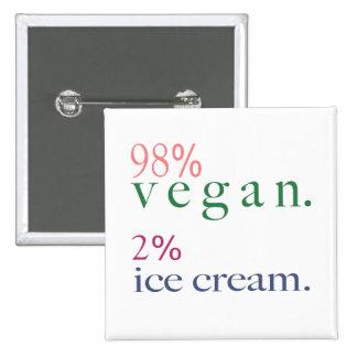 98% Vegan 2% Ice Cream 2 Inch Square Button