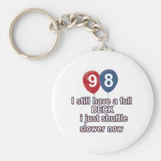 98 year funny birthday designs basic round button keychain