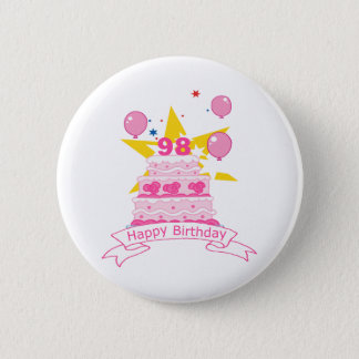 98 Year Old Birthday Cake Pinback Button