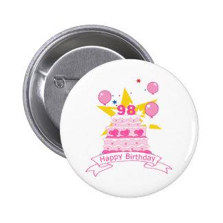 98 Year Old Birthday Cake Pinback Button