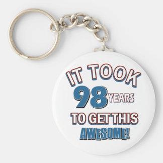 98 year old birthday designs basic round button keychain