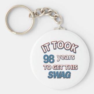 98 year old designs basic round button keychain