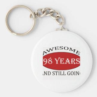 98 years old birthday designs basic round button keychain