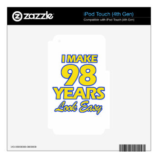 98 YEARS OLD BIRTHDAY DESIGNS iPod TOUCH 4G SKIN