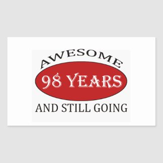 98 years old birthday designs rectangular sticker