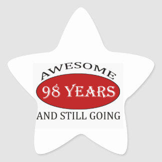 98 years old birthday designs star sticker
