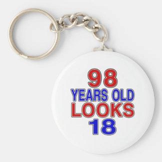 98 Years Old Looks 18 Basic Round Button Keychain