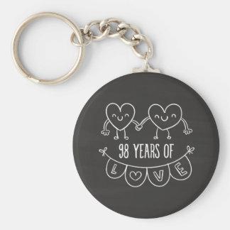 98th Anniversary Gift Chalk Hearts Basic Round Button Keychain