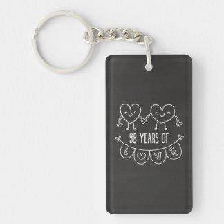 98th Anniversary Gift Chalk Hearts Double-Sided Rectangular Acrylic Keychain