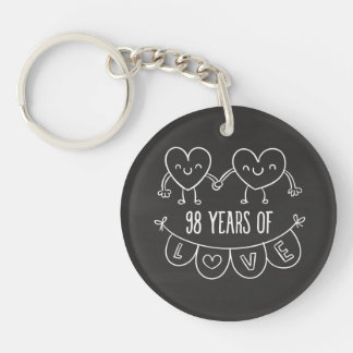 98th Anniversary Gift Chalk Hearts Double-Sided Round Acrylic Keychain