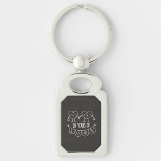 98th Anniversary Gift Chalk Hearts Silver-Colored Rectangular Metal Keychain