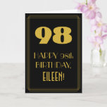 "[ Thumbnail: 98th Birthday ~ Art Deco Inspired Look ""98"" & Name Card ]"