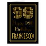 "[ Thumbnail: 98th Birthday: Art Deco Inspired Look ""98"" + Name Card ]"