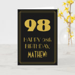 "[ Thumbnail: 98th Birthday – Art Deco Inspired Look ""98"" & Name Card ]"