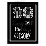 "[ Thumbnail: 98th Birthday — Art Deco Inspired Look ""98"" + Name Card ]"