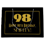 "[ Thumbnail: 98th Birthday — Art Deco Inspired Look ""98"" & Name Gift Bag ]"
