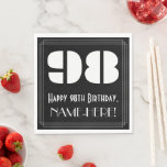 "[ Thumbnail: 98th Birthday: Art Deco Inspired Look ""98"" + Name Napkins ]"