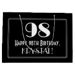 "[ Thumbnail: 98th Birthday: Art Deco Inspired Style ""98"", Name Gift Bag ]"