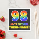 [ Thumbnail: 98th Birthday: Bold, Fun, Simple, Rainbow 98 Napkins ]