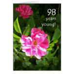 98th Birthday Card - Pink Roses
