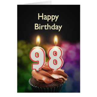98th Birthday card with Candles