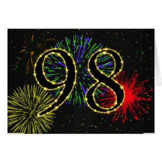 98th  Birthday card with fireworks