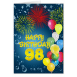98th Birthday card with fireworks and balloons
