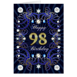 98th birthday card with masses of jewels