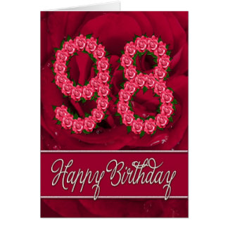 98th birthday card with roses and leaves