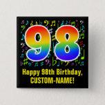 [ Thumbnail: 98th Birthday: Colorful Music Symbols, Rainbow 98 Button ]