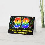 [ Thumbnail: 98th Birthday: Colorful Music Symbols & Rainbow 98 Card ]