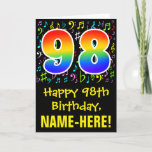 [ Thumbnail: 98th Birthday: Colorful Music Symbols + Rainbow 98 Card ]