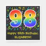 [ Thumbnail: 98th Birthday - Colorful Music Symbols, Rainbow 98 Napkins ]