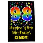 [ Thumbnail: 98th Birthday: Colorful Stars Pattern & Rainbow 98 Gift Bag ]