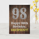 [ Thumbnail: 98th Birthday: Country Western Inspired Look, Name Card ]