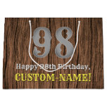 [ Thumbnail: 98th Birthday: Country Western Inspired Look, Name Gift Bag ]
