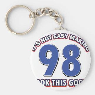 98th birthday designs basic round button keychain