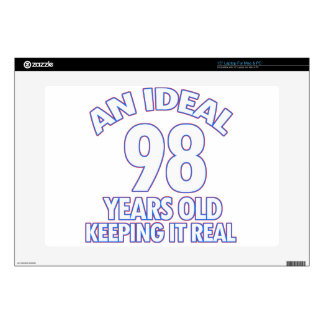 "98th birthday designs decals for 15"" laptops"