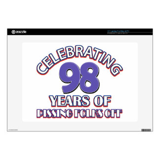 98th birthday designs decals for laptops