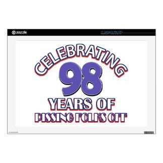 "98th birthday designs skin for 17"" laptop"
